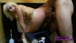 Tattooes slut gets fucked in public bathroom
