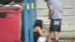 Teens Fuck Behind A Dumpster In Public