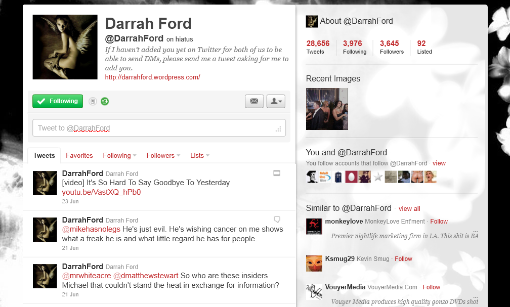 Where oh Where is Darrah Ford ??????