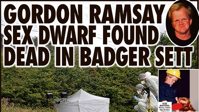 Gordon Ramsay's Porn Dwarf Double Eaten by Badger