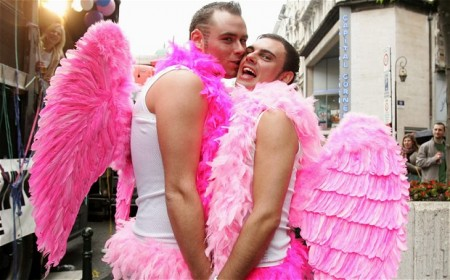 "Men in angel costumes pose during the traditional ""Gays and Lesbians Pride"" rally in central Brussels Photo: REUTERS"
