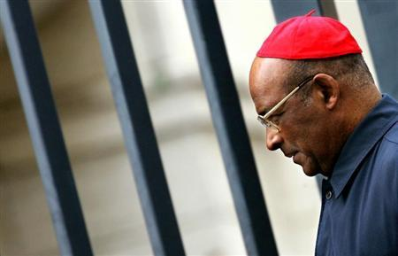 Cardinal Wilfrid Fox Napier of South Africa leaves the Vatican after the general congregation meetin..