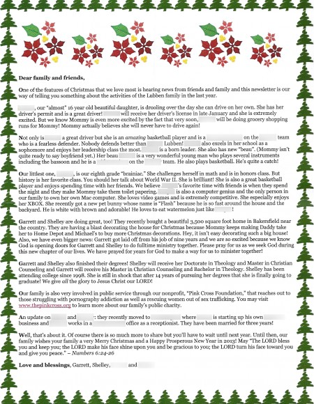 Lubben Xmas Letter 2012 Redacted version. Lubben family values