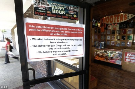 No soup, or wings, for you!: San Diego's mayor is not allowed in any of the city's Hooter's restaurants,