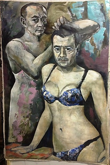 Painting by Konstantin Altunin of Vladimir Putin and Dmitry Medvedev in womens underwear.