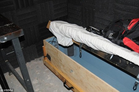 This handmade child sized coffin was soundproofed