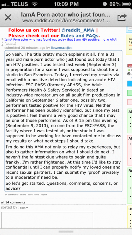 """Fake Reddit Post """"IamA Porn actor who just found out today that I am HIV positive"""""""