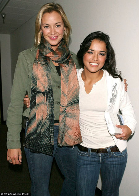 Michelle with Kristanna Loken in 2006; the BloodRayne co-stars were rumored to be lovers.