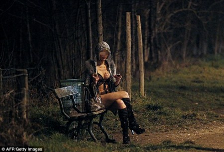 A prostitute waits for clients in the Bois de Boulogne park, western Paris, a hot-spot for prostitutes and where young Argentinian boys were allegedly forced to solicit sex by a pimp, under threat of black magic.