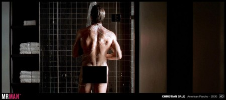 Christian Bale, a favorite on the new site MrMan.com, showers in a scene from American Psycho.