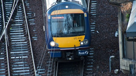 Trollied: Andrew Davidson tried to have sex with drinks trolley on board train travelling from Aberdeen to Glasgow.
