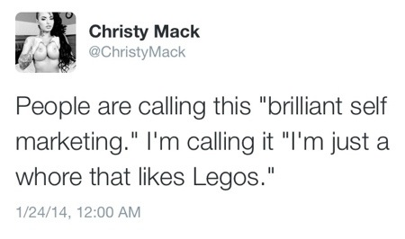 """Christy Mack: """"I'm just a whore that likes Legos."""""""