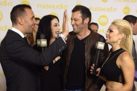 Keiran Lee, Aiden Ashley, Axel Braun and Jesse Jane at the 2014 XBIZ Awards