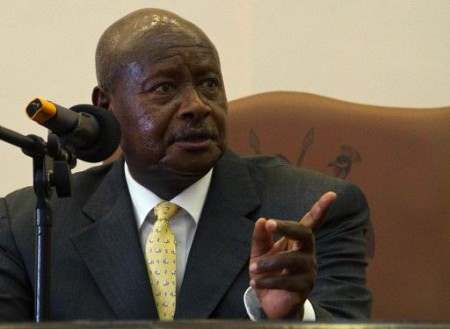 Uganda's President Yoweri Museveni speaks after he signed the Anti-Homosexuality Bill