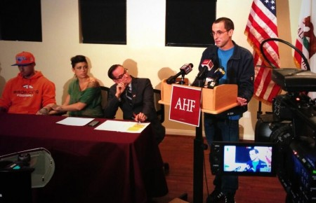 Rod Daily, Cameron Bay, Michael Weinstein and Patrick Stone at a September 18, 2013 AHF press conference