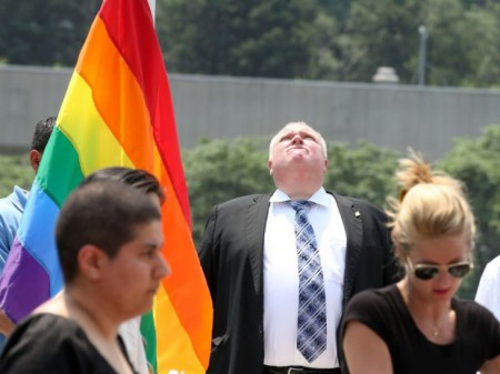 Toronto Mayor Rob Ford attends Pride Flag raising ceremony at Toronto City Hall, June 24, 2013.