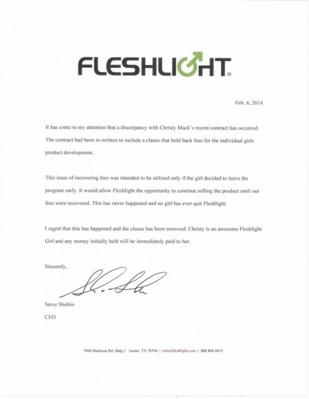 Fleshlight's apology to Christy Mack