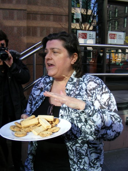 Julie Bindel with biscuits at the London protest