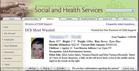 Joslyn James most wanted for child support