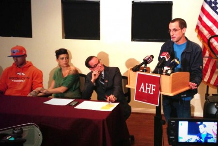Patrick Stone speaks at AHF press conference