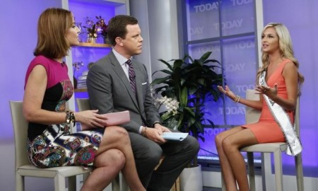 Miss Teen USA Cassidy Wolf (right) on NBC's 'Today' show about Wolf's experience as a victim of an Internet sex crime.