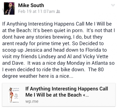 pic of mike fb post when left for FL