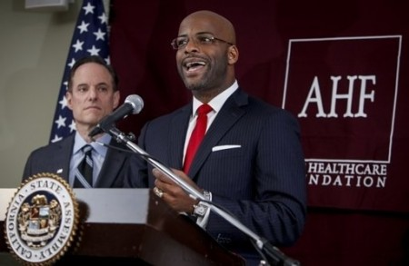 AHF's Michael Weinstein (left) and Isadore Hall (D-AHF)