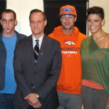 "Patrick ""No Show"" Stone, AHF dictator Michael Weinstein, Rod Daily and Cameron Bay, in September 2013"