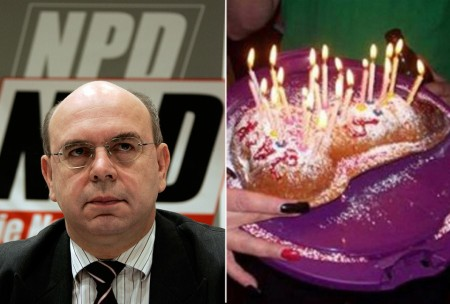 Peter Marx, leader of the far-right German National Democratic Party, and the penis cake that led to his downfall. (Reuters/Facebook)