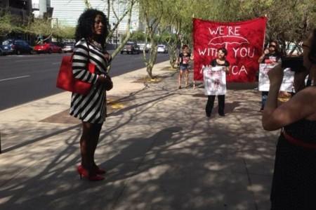 Monica Jones outside of Phoenix Municipal Court