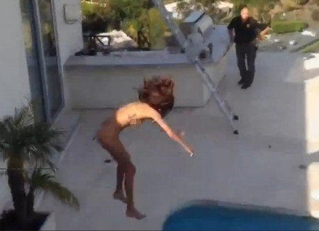VIDEO: Nude porn star tossed off roof of Hollywood mansion, breaks foot before splashing into pool