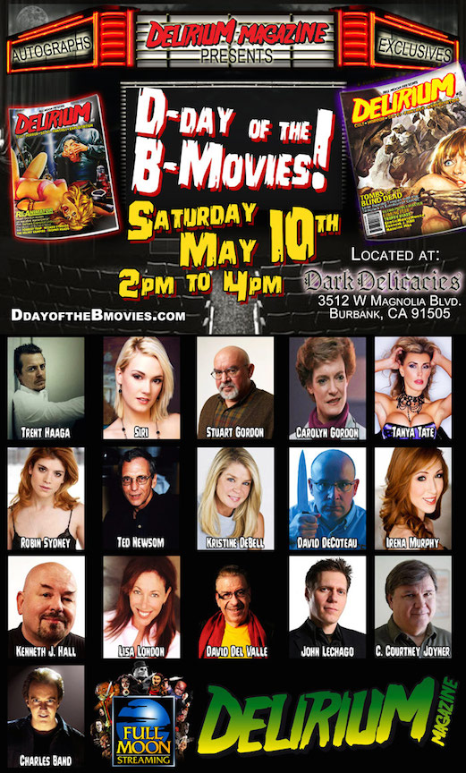 Siri to Appear at Delirium Magazine D-Day of the B-Movies Event in Burbank, Sat. May 10