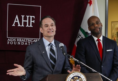 Michael Weinstein and Assemblymember/Baptiist Minister Isadore Hall III (D-AHF)