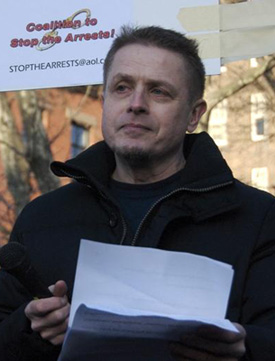 Robert Pinter at a 2009 rally protesting the arrests of gay and bisexual men at Manhattan adult video stores. | VADIM SHEPEL