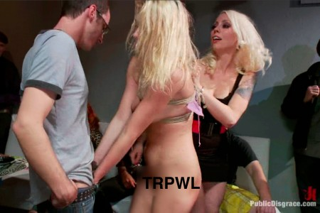 A scene from Public Disgrace, with Allie James (center) and Lorelei Lee (right)