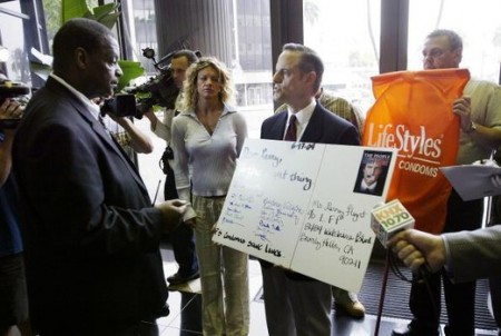 Ever the publicity whore, Weinstein is seen here protesting at Larry Flynt's offices in Los Angeles.