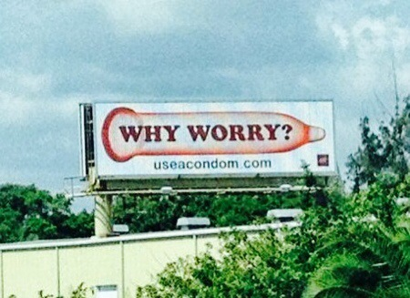 Giant Condom Billboard on I-95 Promotes The Only Sex AHF Finds Acceptable