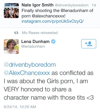 Lena Dunham Conflicted Over 'Girls' Porn, Enthusiastic About Alex Chance's Tits (And Mind)