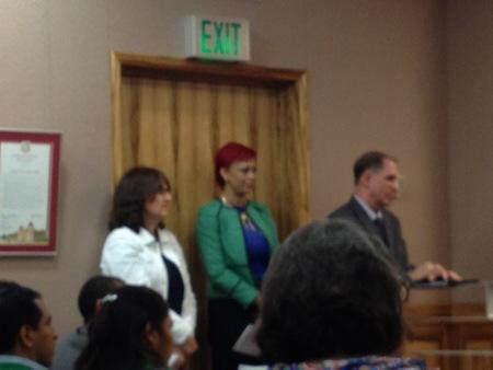 """UCLA's Paula """"Mylanta"""" Tavrow and Cameron Bay lined up behind AHF lobbyist Rand Martin"""