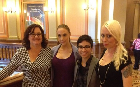 Adult Performers Lobby CA State Senators To #stopAB1576 Attorney Karen Tynan (far left) with (left-to-right) Chanel Preston, Fivestar, and Lorelei Lee