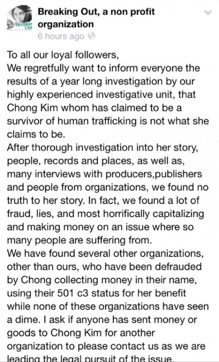 Surprise! Alleged trafficking survivor Chong Kim revealed to be a liar, thief and fraud