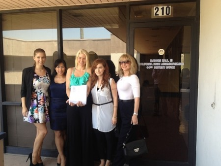 Adult film stars deliverying a petition to Isadore Hall's office. L to R: Alex Chance, Mia Li, Anikka Albrite, Charli Piper and Nina Hartley.