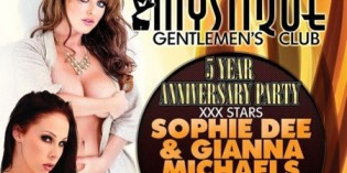Sophie Dee and Gianna Michaels to Headline Mystique's Gentlemen's Club's 5th Anniversary Party in Bridgeport, CT