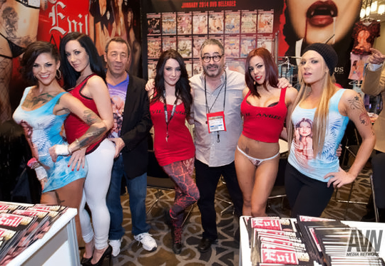The Evil Angel booth at AEE 2014 - Evil Angel Statement in Memory of Christian Mann