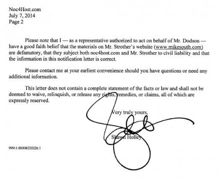 DODSON- Letter to Noc4Host.com 2