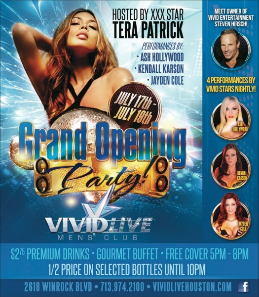 Adult Stars Tera Patrick, Ash Hollywood, Kendall Karson & Jayden Cole in HOUSTON For VIVID LIVE MEN'S CLUB Opening, July 17-19