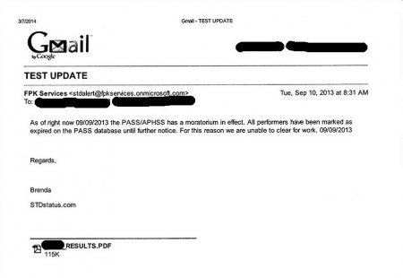 FPK - STDStatus email