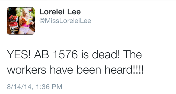 Lorelei Lee -- AB 1576 is dead
