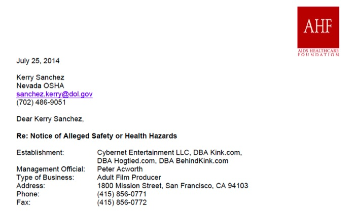 See AIDS Healthcare Foundation's Complaint to Nevada OSHA Over Kink.com Oral Sex Scene