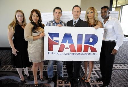Jenni Case, Jan Meza, then fugitive Derrick Burts, AHF president Michael Weinstein, Shelley Lubben & Darren James